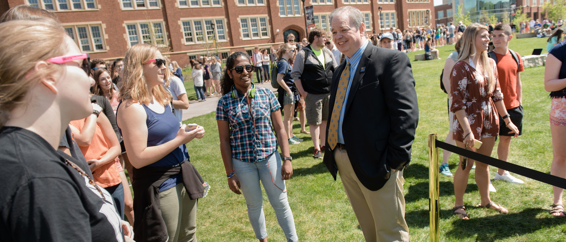Chancellor Jim Schmidt meeting students at Springfest 2017