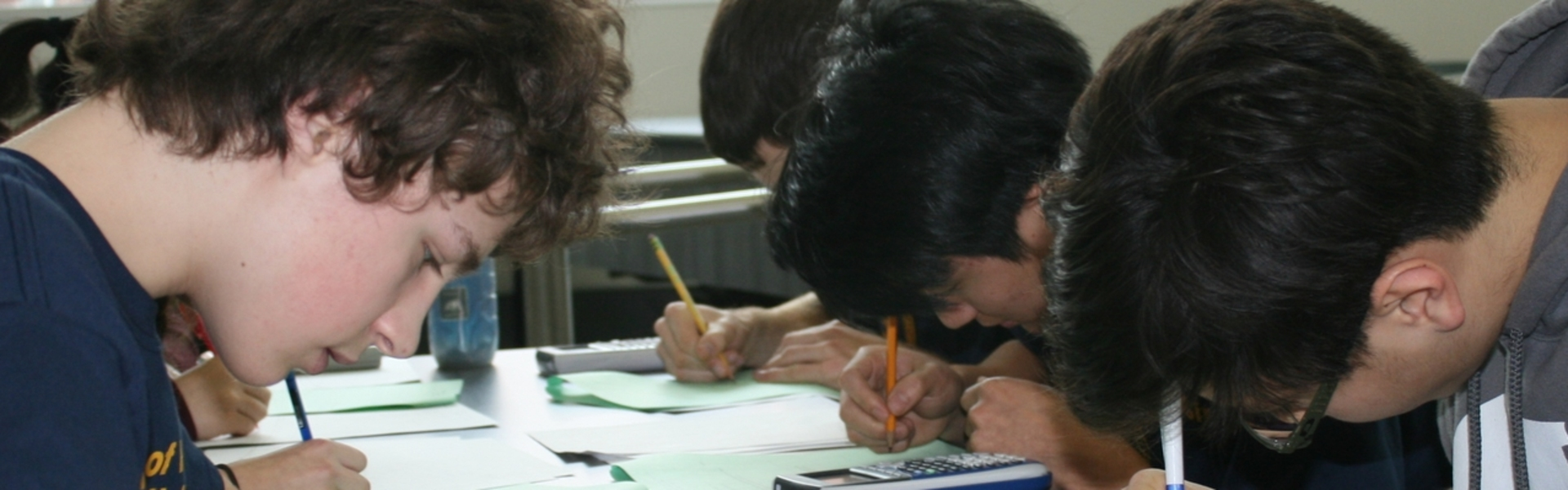 Students working hard on a test