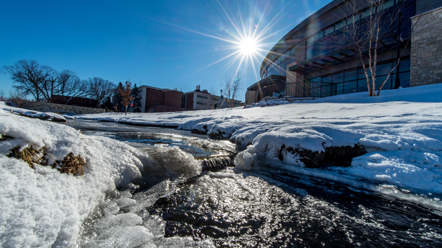 Winter campus beauty shot of Davies Center and Little Niagra.