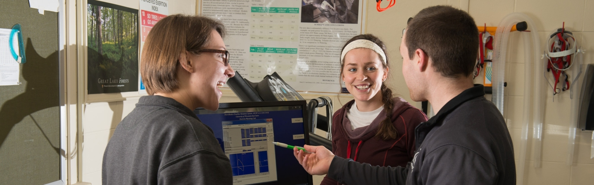 UWEC students performing kinesiology research