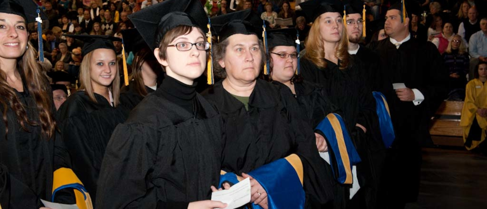 Graduate students at commencement