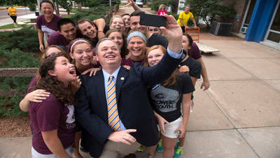 Selfie with Chancellor Jim Towers Move-in day 2014