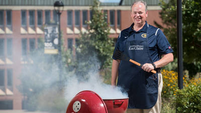 Chancellor Jim Schmidt grilling on campus, August 2018.