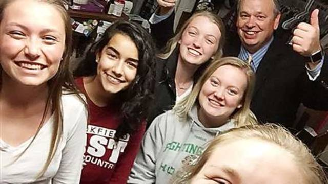Chancellor Jim drops in for a residence hall selfie!