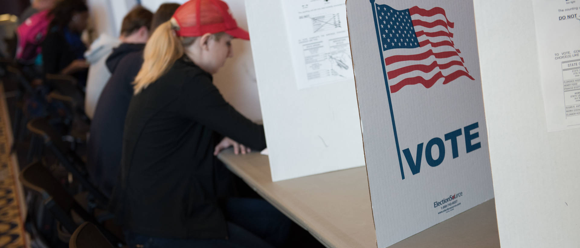Voting booths for students in Davies Center