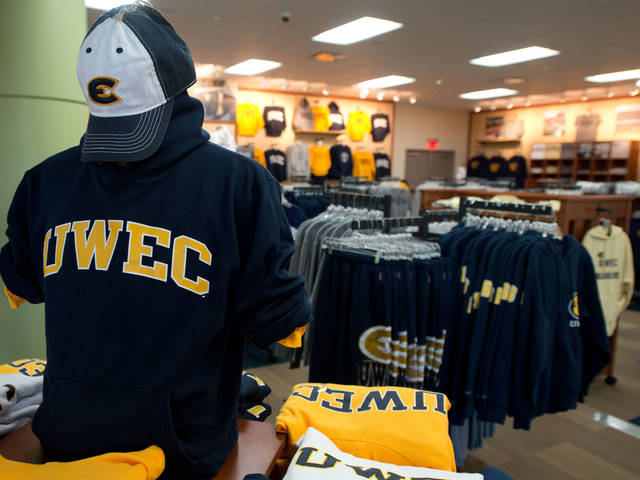 Blugold merchandise in the UNiveristy Bookstore