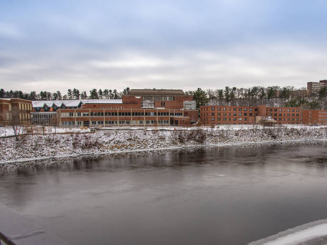 View of Chippewa River and campus from the footbridge
