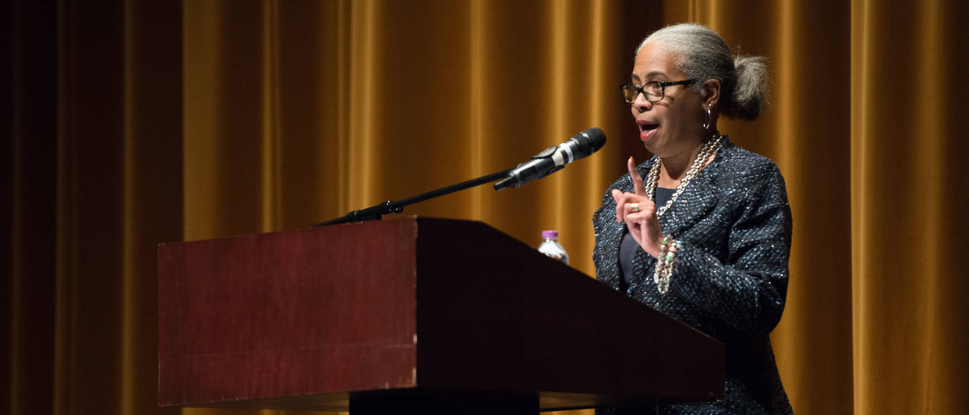 Gloria Ladson-Billings presents during the 2017 Martin Mogensen Education Lecture on culturally relevant pedagogy.