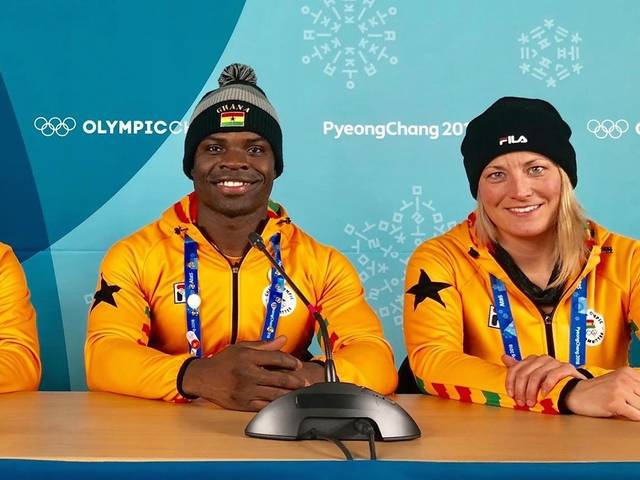 UW-Eau Claire grad Lauri Miller Bausch coached Olympian Akwasi Frimpong during the Winter Games in South Korea.