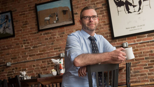 Eau Claire coffee shop and restaurant owner Jeremy Kachmar, talks about donating to the Local Blugold Scholarship fund.