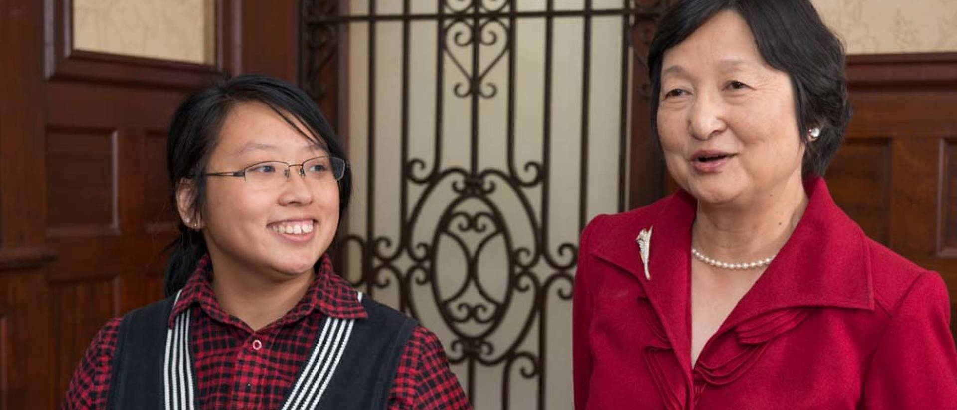 Maureen Lau Scholarship recipient  Hengzhou Liu and Grace Lau, who established the scholarship in memory of her sister.