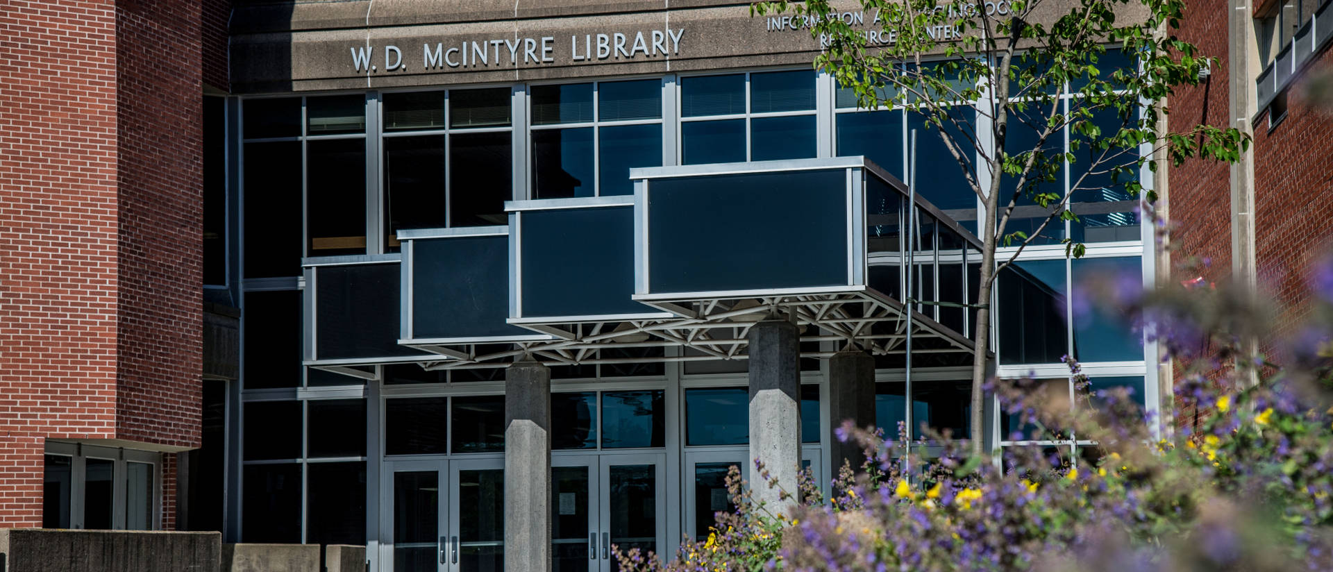 Main entrance to McIntyre Library on the UW-Eau Claire campus.