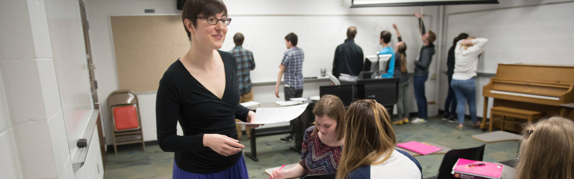 UW-Eau Claire professor and music theory students engaged in active learning