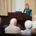 Joan Christopherson Schmidt, donor of the Frederick G. and Joan Christopherson Schmidt Robert Frost Collection to the UW-Eau Claire Foundation, reads during UW-Eau Claire's 2017 Robert Frost Celebration of American Poetry.