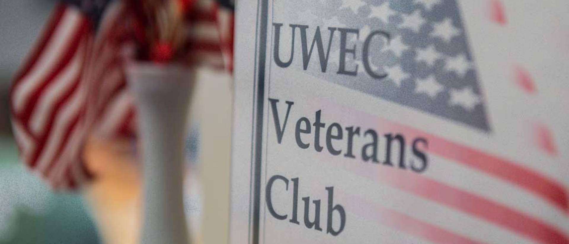 The Veterans Club sign located at the Veterans Center in Schofield Hall room 20 on the UW-Eau Claire campus.