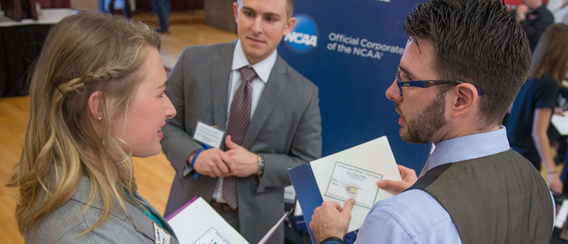 Students, alumni and employers participating in a Career Fair in W. R. Davies Center on the UW-Eau Claire campus.