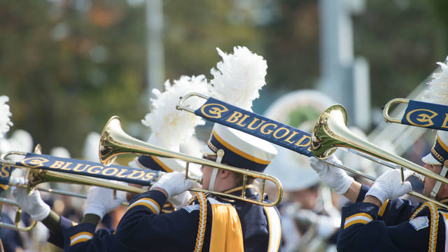 Blugold marching band on a fall day