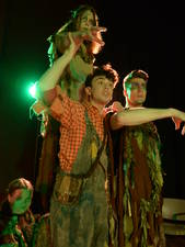 UW-Eau Claire students performing in the play Wiley and the Hairy Man