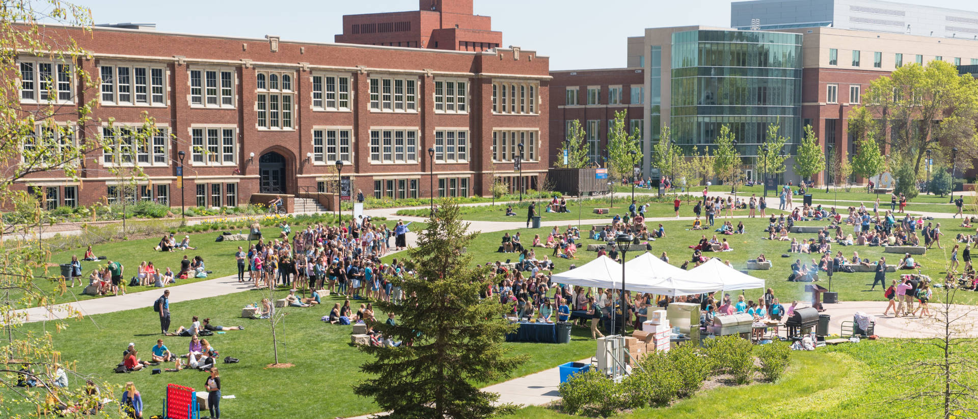 A view of Schofield and Centennial Halls from the UW-Eau Claire campus mall.