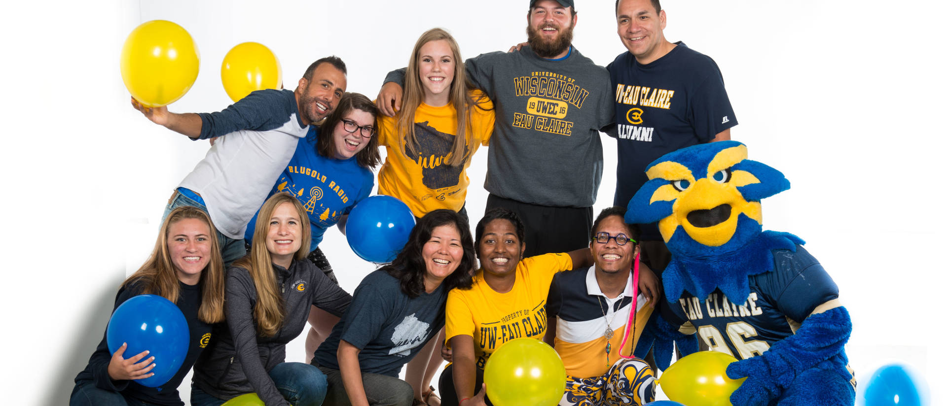 UW-Eau Claire students showing Blugold gear and Blugold pride on Blugold Friday