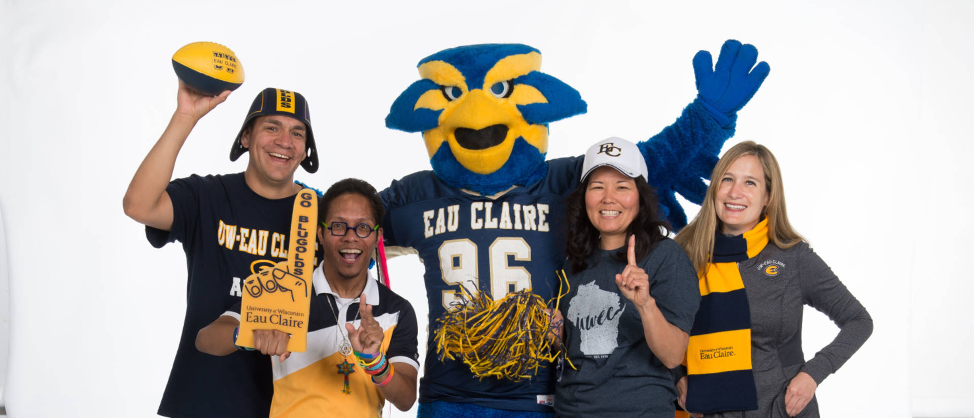 Faculty modeling Blugold apparel during a photoshoot