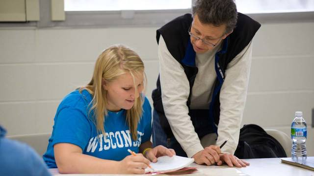 Students work in the Physical Geography lab under the direction of Dr. Harry Jol and a teaching assistant.