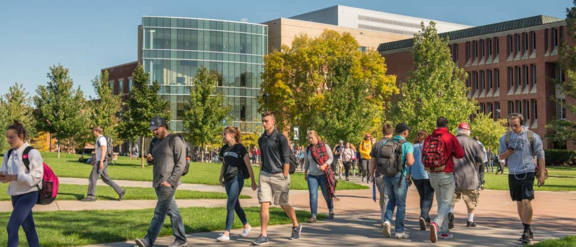 Students walking on lower campus at UW-Eau Claire