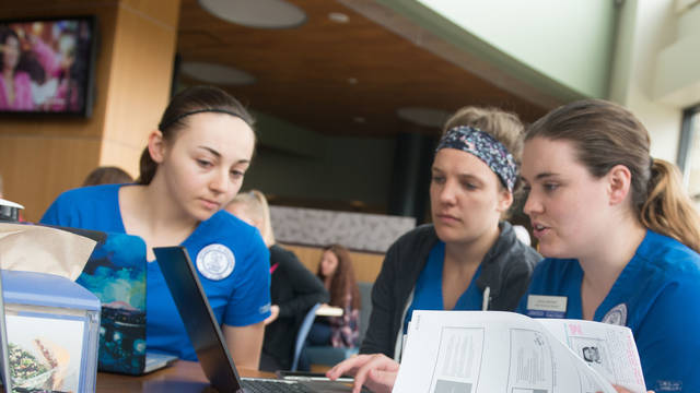 Nursing students studying in Davies Center